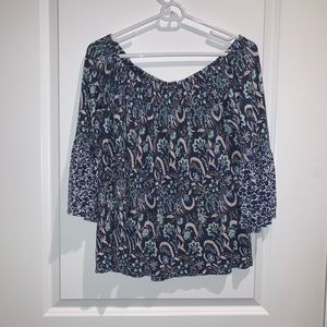Lucky Brand | Wide Neck Floral Long Sleeve Top